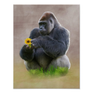 Gorilla and Yellow Daisy Posters