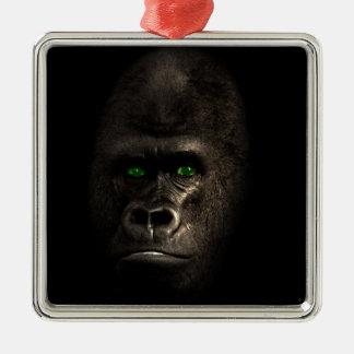 Gorilla Ape Monkey Silver-Colored Square Decoration