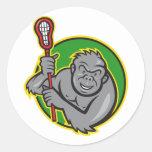 Gorilla Ape With Lacrosse Stick Cartoon Round Sticker