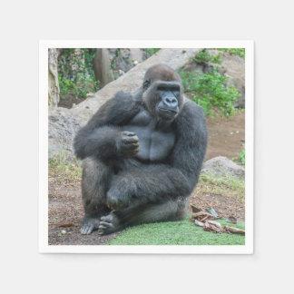 Gorilla at the zoo disposable napkins