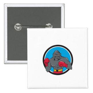 Gorilla Boxer Boxing Stance Circle Cartoon 15 Cm Square Badge