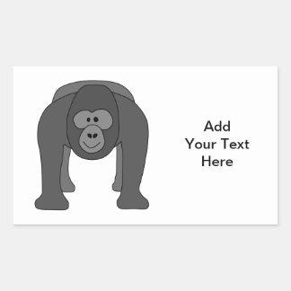 Gorilla Cartoon Rectangular Sticker