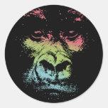 Gorilla Face -colour Round Sticker