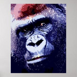 Gorilla Face Pop Art Poster Print. Gorilla Posters