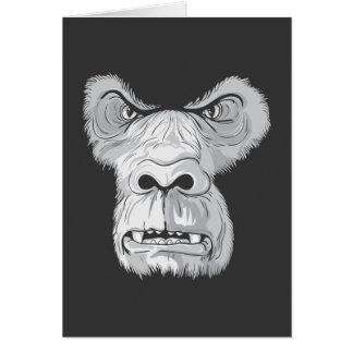 gorilla face vector greeting card
