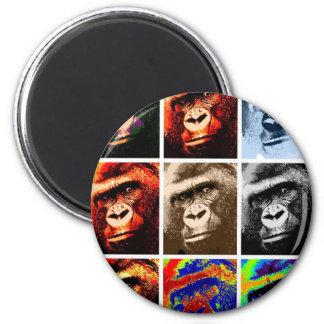 Gorilla Faces 6 Cm Round Magnet