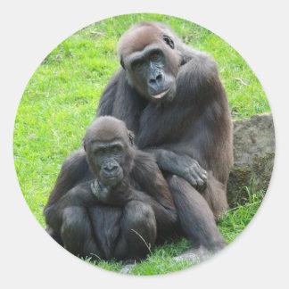 Gorilla Family Round Sticker