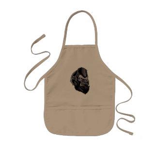 gorilla head illustration kids apron