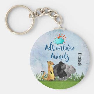 Gorilla Hippo and Meerkat -  Adventure Awaits Basic Round Button Key Ring