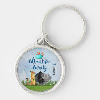Gorilla Hippo and Meerkat -  Adventure Awaits For Silver-Colored Round Key Ring