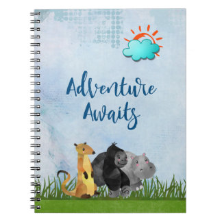 Gorilla Hippo and Meerkat -  Adventure Awaits Spiral Notebook