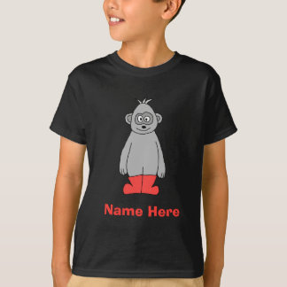 Gorilla in Red Boots and Custom Name. T-Shirt