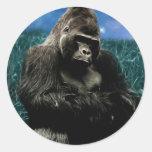 Gorilla in the meadow round sticker