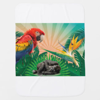 Gorilla jungle parrot baby blanket