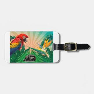 Gorilla jungle parrot luggage tag
