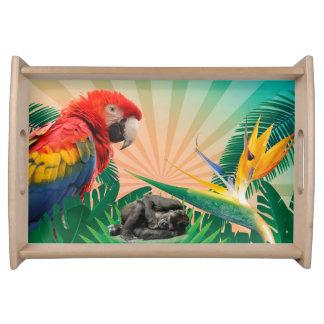 Gorilla jungle parrot serving tray