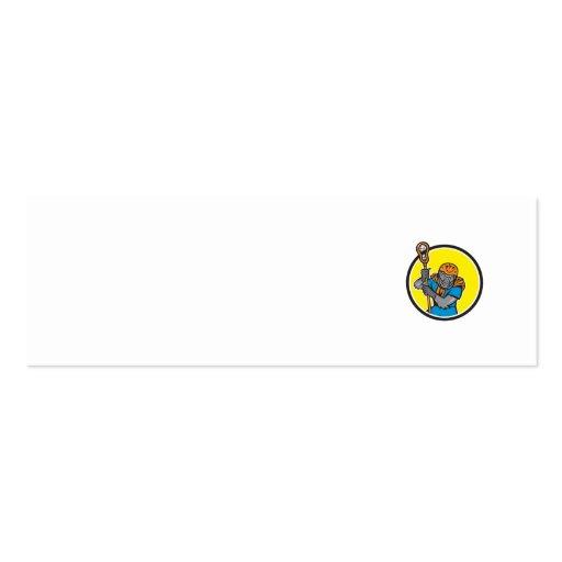 Gorilla Lacrosse Player Circle Cartoon Business Card