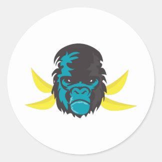 Gorilla Madness Round Stickers