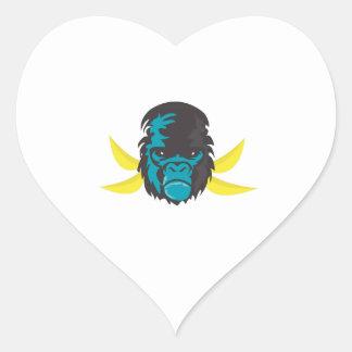 Gorilla Madness Heart Stickers
