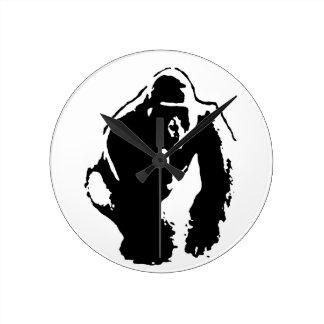 Gorilla Pop Art Round Clock