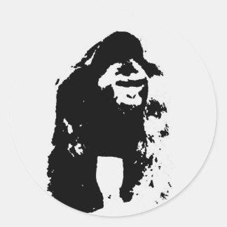 Gorilla Pop Art Round Stickers