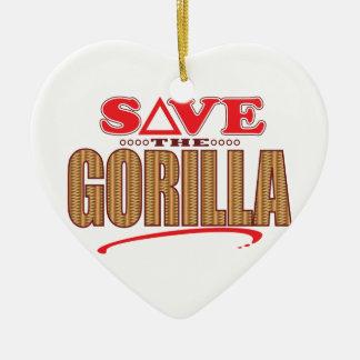 Gorilla Save Ceramic Heart Decoration