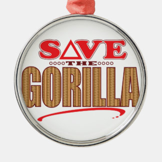 Gorilla Save Silver-Colored Round Decoration