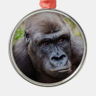Gorilla Silver-Colored Round Decoration