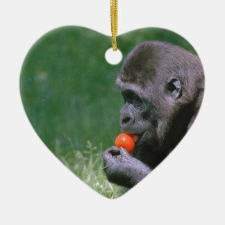 Gorilla Tomato Ceramic Heart Decoration
