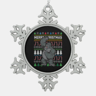 Gorilla Ugly Christmas Sweater Wildlife Series Snowflake Pewter Christmas Ornament