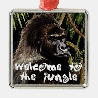 gorilla welcome ton the jungle Silver-Colored square decoration