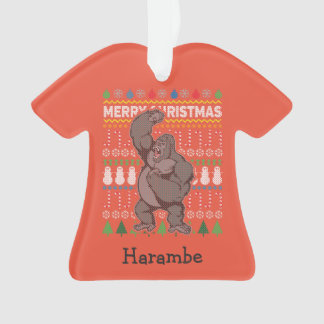 Gorilla Wildlife Merry Christmas Ugly Sweater Ornament