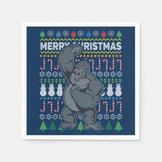 Gorilla Wildlife Merry Christmas Ugly Sweater Paper Napkin