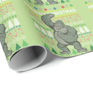 Gorilla Wildlife Merry Christmas Ugly Sweater Wrapping Paper