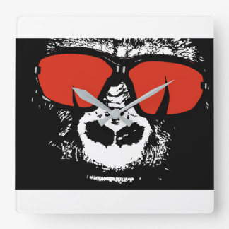 Gorilla with glasses square wall clock