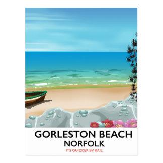 Gorleston Beach Norfolk Rail poster. Postcard