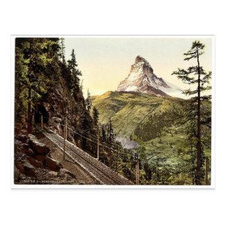 Gornergrat Railway and Matterhorn, Valais, Alps of Postcard