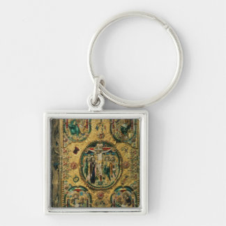 Gospel cover, gold with repousse Silver-Colored square key ring