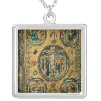Gospel cover, gold with repousse square pendant necklace