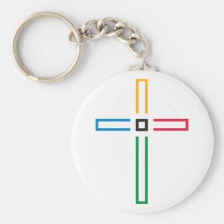 Gospel Cross Basic Round Button Key Ring