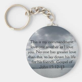 Gospel of John 15:12-13 Basic Round Button Key Ring
