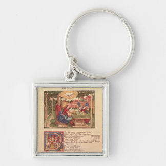Gospel of St.Matthew, Book I Silver-Colored Square Key Ring