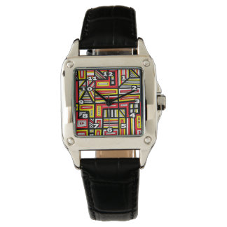 """Gosser"" Square Black Leather Watch"