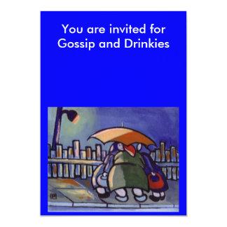 GOSSIP AND DRINKS INVITE 13 CM X 18 CM INVITATION CARD