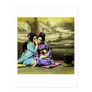Gossip Geisha Girls of Old Japan Vintage Japanese Postcard