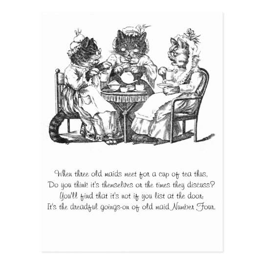 Gossiping Cats Have Tea Party Postcard
