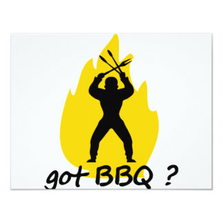got BBQ? with flame icon 11 Cm X 14 Cm Invitation Card