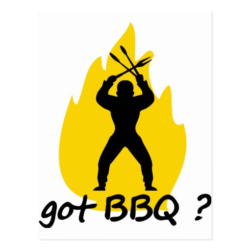 got BBQ? with flame icon Post Card