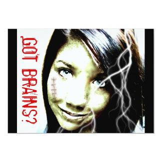 Got Brains? Cute Zombie Girl Teenager 13 Cm X 18 Cm Invitation Card