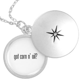 got corn n oil round locket necklace